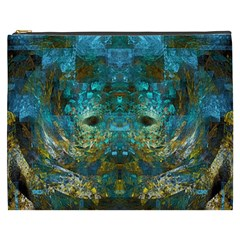 Blue Gold Modern Abstract Geometric Cosmetic Bag (XXXL)