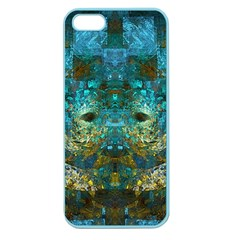 Blue Gold Modern Abstract Geometric Apple Seamless iPhone 5 Case (Color)