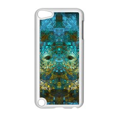 Blue Gold Modern Abstract Geometric Apple iPod Touch 5 Case (White)