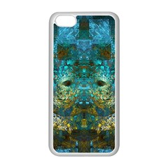Blue Gold Modern Abstract Geometric Apple iPhone 5C Seamless Case (White)