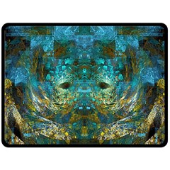 Blue Gold Modern Abstract Geometric Double Sided Fleece Blanket (Large)