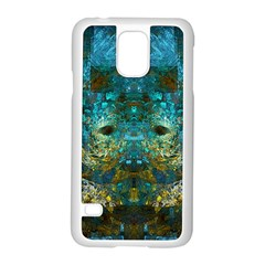 Blue Gold Modern Abstract Geometric Samsung Galaxy S5 Case (White)