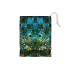 Blue Gold Modern Abstract Geometric Drawstring Pouches (Small)