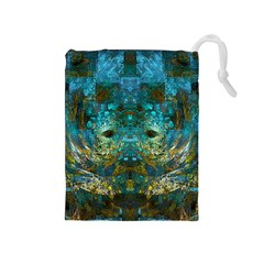 Blue Gold Modern Abstract Geometric Drawstring Pouches (Medium)