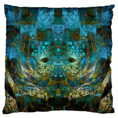 Blue Gold Modern Abstract Geometric Large Flano Cushion Case (One Side)