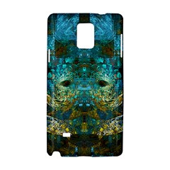 Blue Gold Modern Abstract Geometric Samsung Galaxy Note 4 Hardshell Case