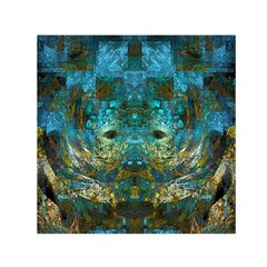 Blue Gold Modern Abstract Geometric Small Satin Scarf (Square)