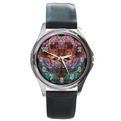 Modern Abstract Geometric Art Rainbow Colors Round Metal Watch