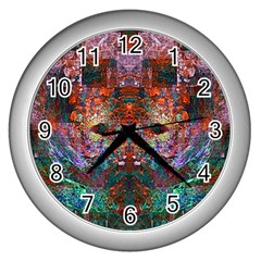 Modern Abstract Geometric Art Rainbow Colors Wall Clocks (Silver)