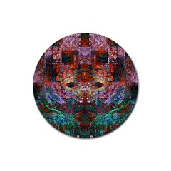 Modern Abstract Geometric Art Rainbow Colors Rubber Coaster (Round)