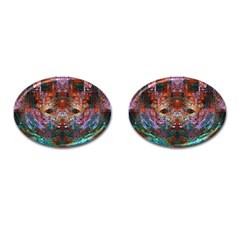 Modern Abstract Geometric Art Rainbow Colors Cufflinks (oval)