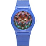 Modern Abstract Geometric Art Rainbow Colors Round Plastic Sport Watch (S) Front