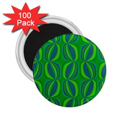 Blue Green Ethnic Print Pattern 2.25  Magnets (100 pack)