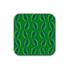 Blue Green Ethnic Print Pattern Rubber Coaster (Square)