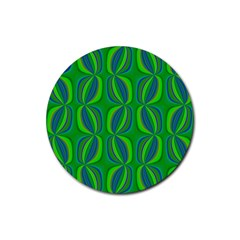 Blue Green Ethnic Print Pattern Rubber Coaster (Round)