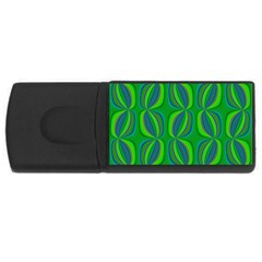 Blue Green Ethnic Print Pattern USB Flash Drive Rectangular (1 GB)