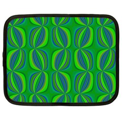 Blue Green Ethnic Print Pattern Netbook Case (Large)