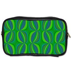 Blue Green Ethnic Print Pattern Toiletries Bags 2-Side