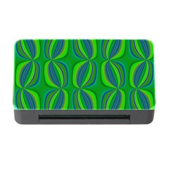Blue Green Ethnic Print Pattern Memory Card Reader with CF