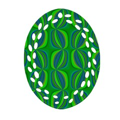 Blue Green Ethnic Print Pattern Ornament (Oval Filigree)