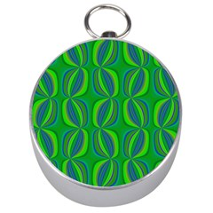 Blue Green Ethnic Print Pattern Silver Compasses