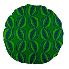Blue Green Ethnic Print Pattern Large 18  Premium Flano Round Cushions