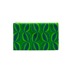 Blue Green Ethnic Print Pattern Cosmetic Bag (XS)