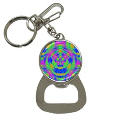 Boho Hippie Retro Psychedlic Neon Rainbow Bottle Opener Key Chain