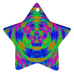 Boho Hippie Retro Psychedlic Neon Rainbow Star Ornament (Two Sides)