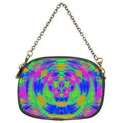 Boho Hippie Retro Psychedlic Neon Rainbow Chain Purse (Two Sides)