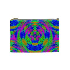 Boho Hippie Retro Psychedlic Neon Rainbow Cosmetic Bag (Medium)