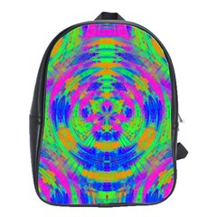 Boho Hippie Retro Psychedlic Neon Rainbow School Bag (Large)