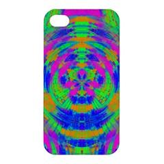 Boho Hippie Retro Psychedlic Neon Rainbow Apple iPhone 4/4S Premium Hardshell Case