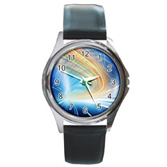 Glow Motion Lines Light Round Metal Watch