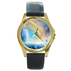 Glow Motion Lines Light Round Gold Metal Watch