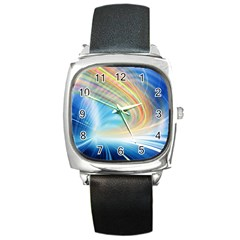 Glow Motion Lines Light Square Metal Watch