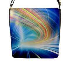 Glow Motion Lines Light Flap Messenger Bag (L)