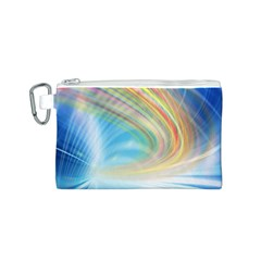 Glow Motion Lines Light Canvas Cosmetic Bag (S)
