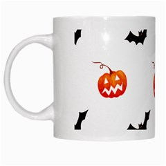 Halloween Seamless Pumpkin Bat Orange Black Sinister White Mugs