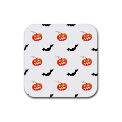 Halloween Seamless Pumpkin Bat Orange Black Sinister Rubber Coaster (Square)