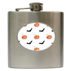 Halloween Seamless Pumpkin Bat Orange Black Sinister Hip Flask (6 oz)