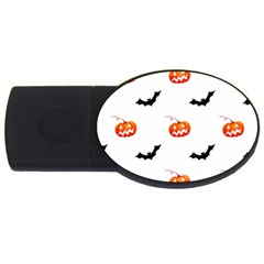 Halloween Seamless Pumpkin Bat Orange Black Sinister USB Flash Drive Oval (4 GB)