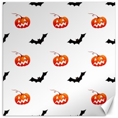Halloween Seamless Pumpkin Bat Orange Black Sinister Canvas 12  x 12