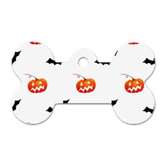 Halloween Seamless Pumpkin Bat Orange Black Sinister Dog Tag Bone (Two Sides)