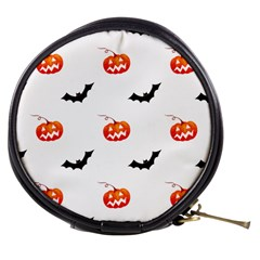 Halloween Seamless Pumpkin Bat Orange Black Sinister Mini Makeup Bags