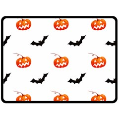 Halloween Seamless Pumpkin Bat Orange Black Sinister Fleece Blanket (Large)