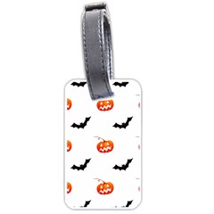 Halloween Seamless Pumpkin Bat Orange Black Sinister Luggage Tags (Two Sides)