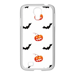 Halloween Seamless Pumpkin Bat Orange Black Sinister Samsung GALAXY S4 I9500/ I9505 Case (White)
