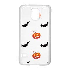 Halloween Seamless Pumpkin Bat Orange Black Sinister Samsung Galaxy S5 Case (White)