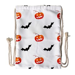 Halloween Seamless Pumpkin Bat Orange Black Sinister Drawstring Bag (Large)